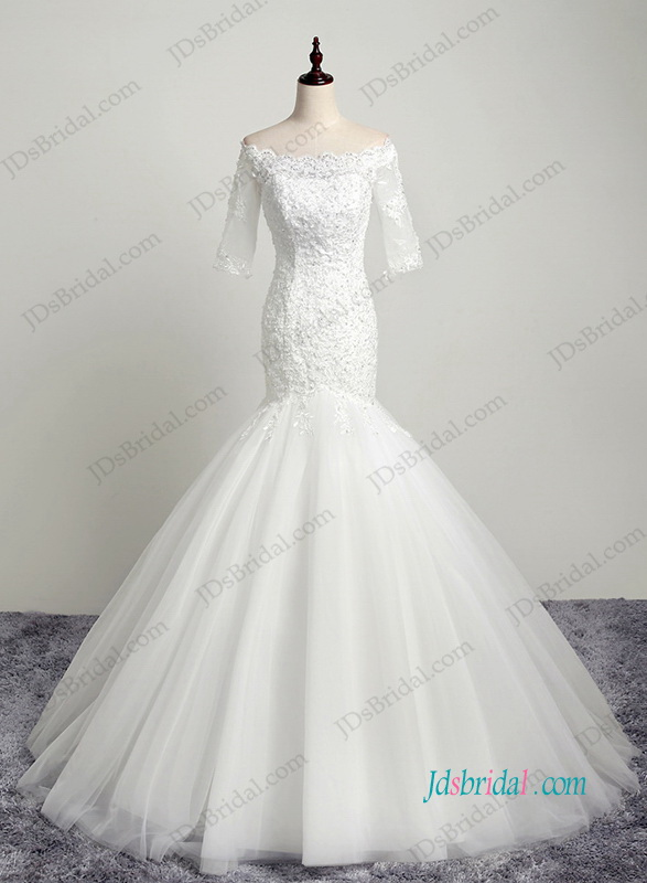 H1192 Petite off shoulder key hole back lace mermaid wedding dress