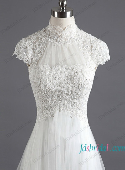 H1193 Illusion lace high neck short sleeved wedding dress
