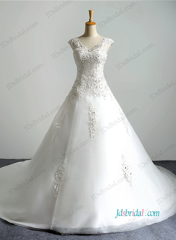 H1194 Illusion lace v neckline organza ball gown wedding dress
