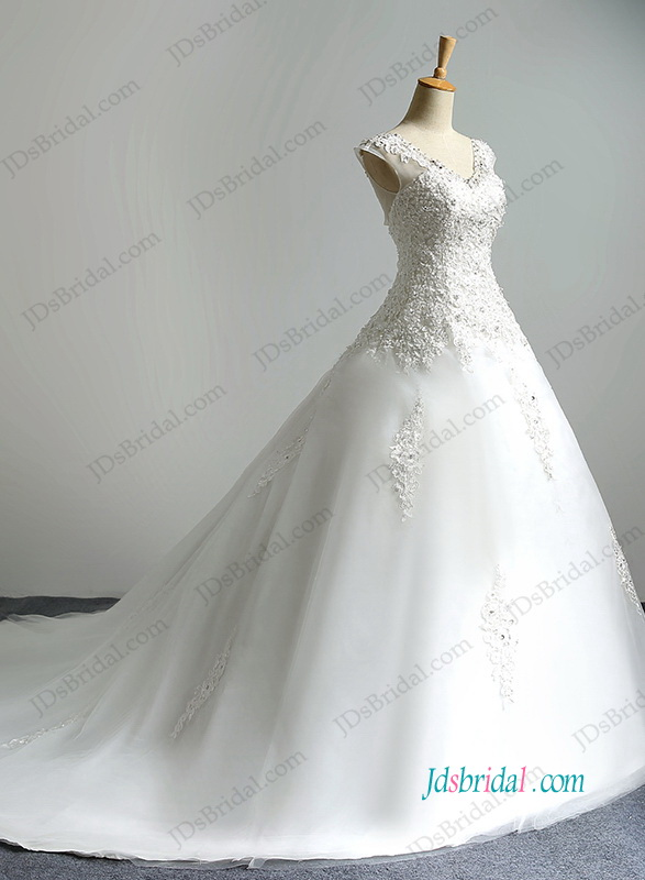 beautiful illusion lace cap sleeves v neckline organza ball gown wedding dress with lace details