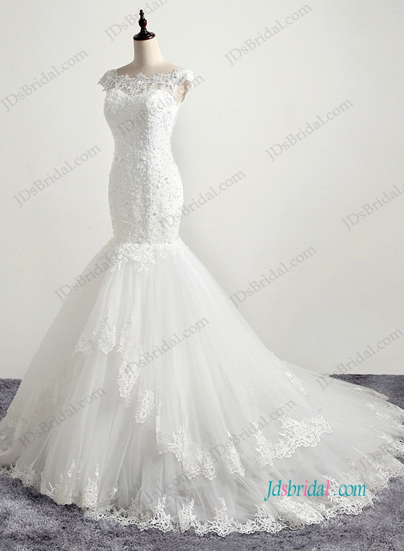 H1195 Romantic illusion lace back tiered mermaid wedding dress