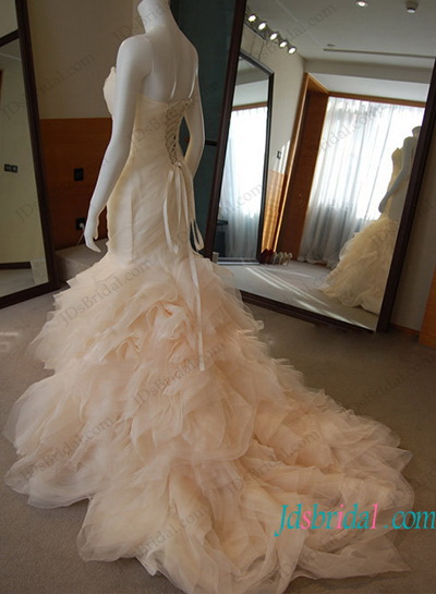 H1196 Inspired Designer Blush Ruffled Mermaid Wedding Dress