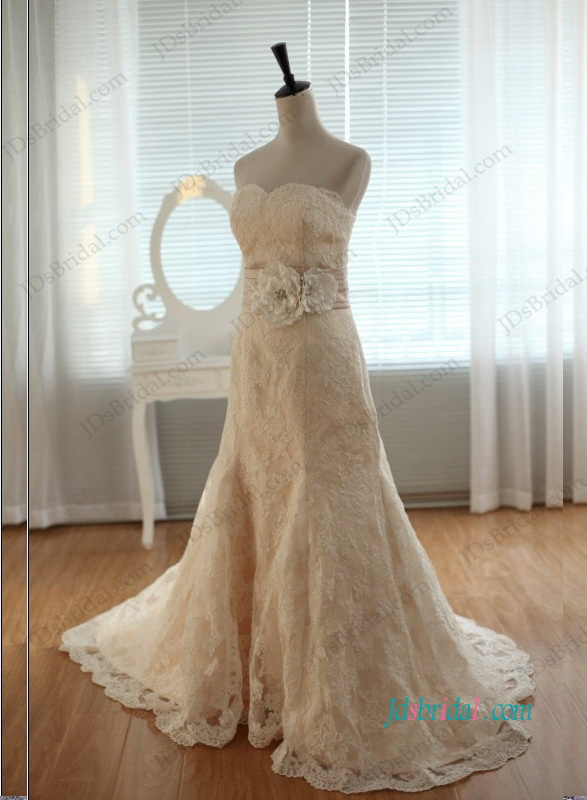 H1197 Sweetheart neckline champagne lace a line wedding dress