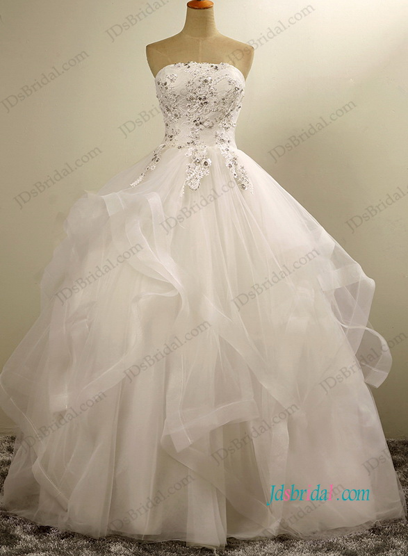 H1198 pretty strapless layered tulle ball gown wedding dress for Tulle layered wedding dress