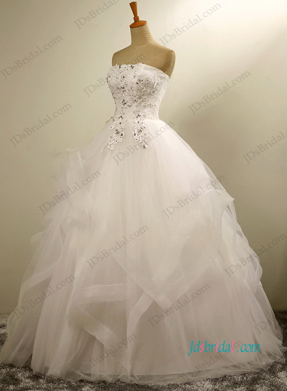 H1198 Pretty strapless layered tulle ball gown wedding dress