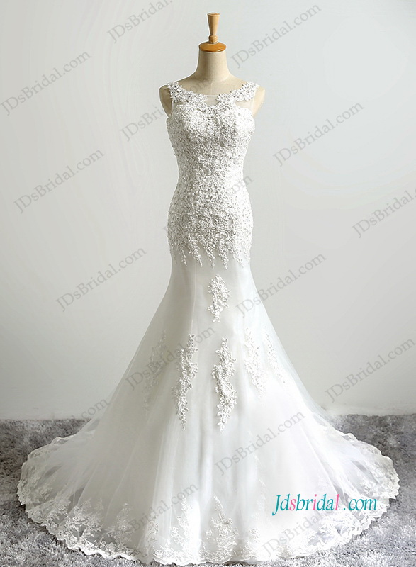 H1199 Romance bateau neck lace mermaid wedding dress
