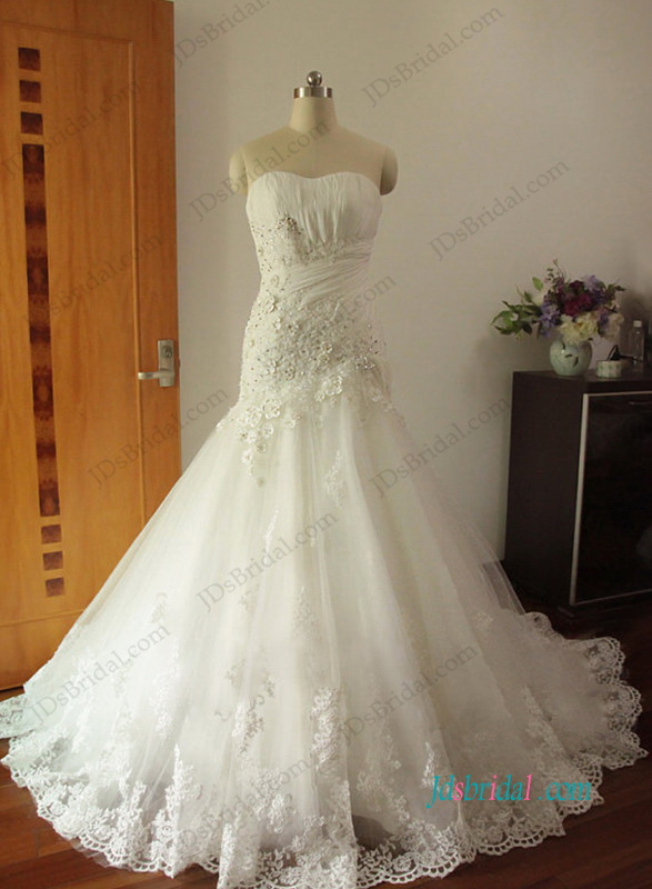 H1200 Gorgeous Strapless floral tulle trumpet wedding dresses