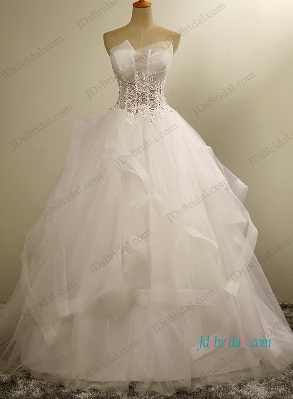 H1202 Sexy see through bodice tulle ball gown wedding dress