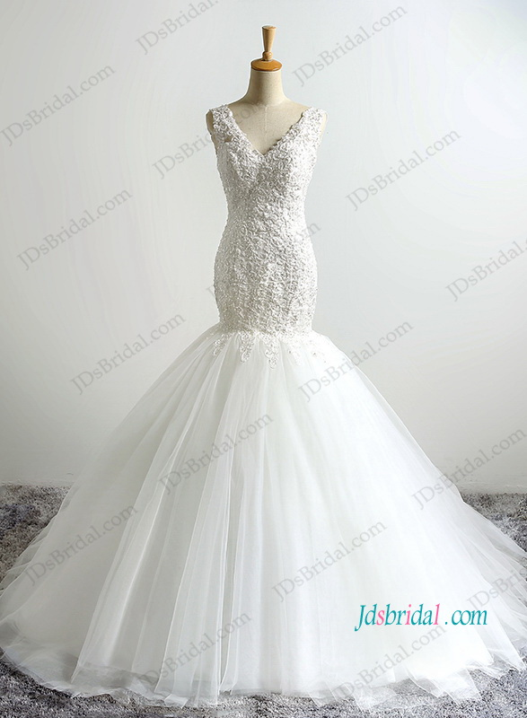 H1203 Petite strappy lace v neck mermaid wedding dress