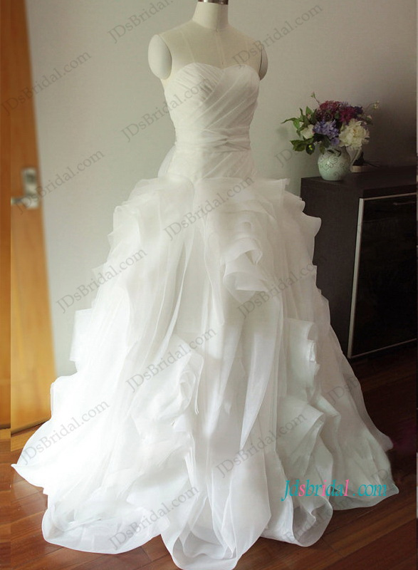 H1205 Gorgeous draped organza ball gown wedding dress