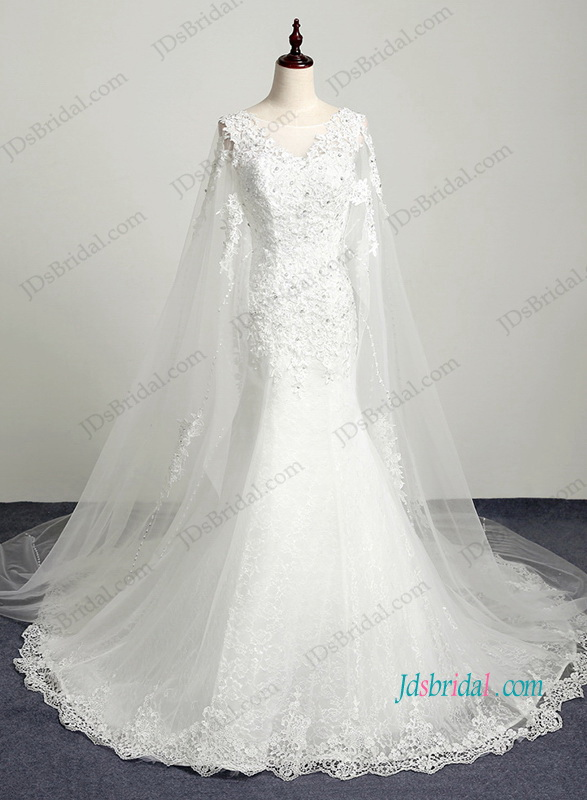 H1206 Romance watteau train lace mermaid wedding dress