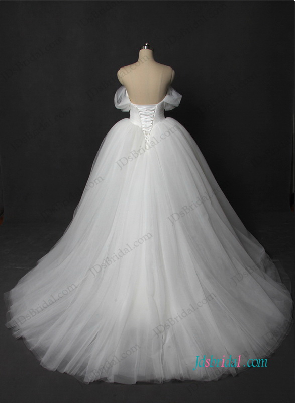 H1207 Plain off shoulder tulle princess wedding ball gown