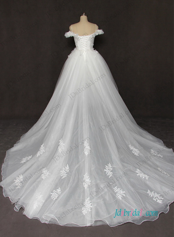H1208 Fiary off the shoulder tulle princess wedding dress with flowers