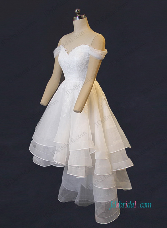 H1210 Lovely sweetheart neckline tiered organza high low wedding dress
