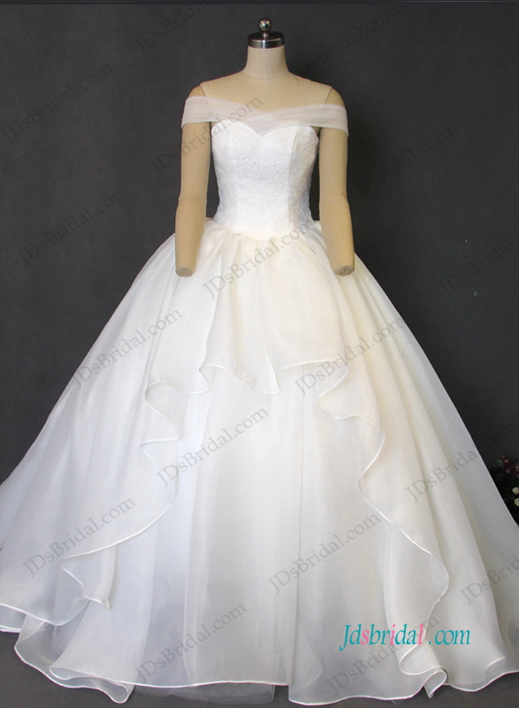 H1211 Elegant organza ball gown wedding dress with off shoulder