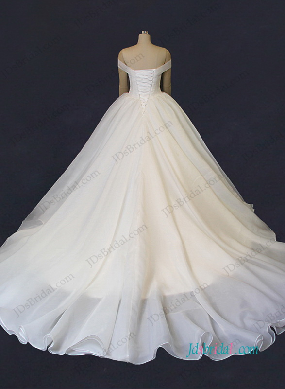 elegant off the shoulder organza ball gown wedding dresses with train