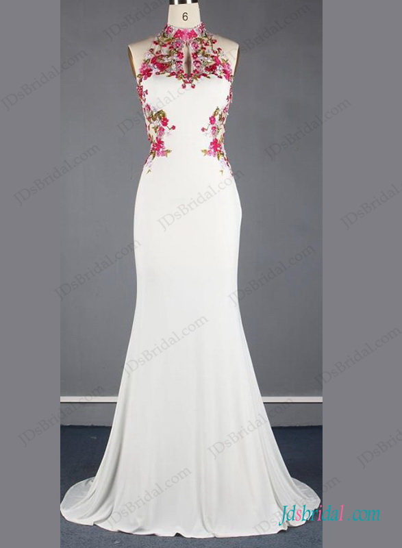 Unique chinese style halter backless mermaid wedding dress for Chinese style wedding dress