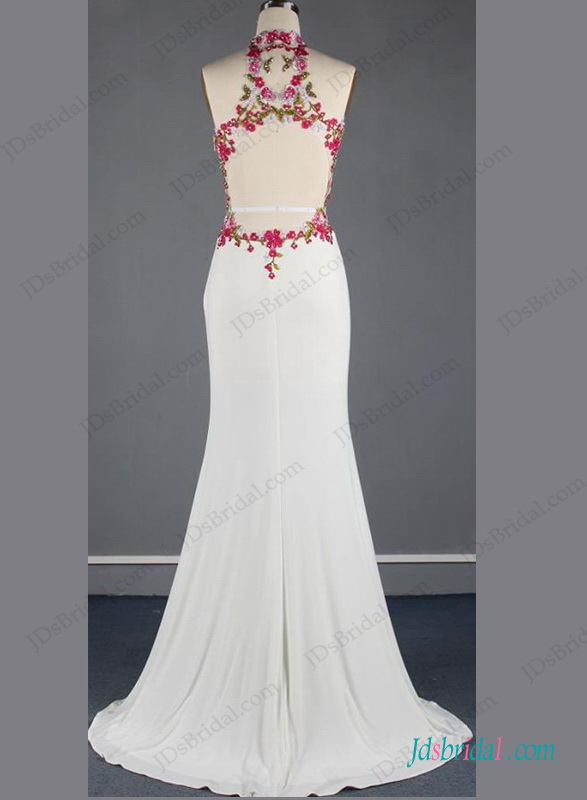 H1261 Unique chinese style halter backless mermaid wedding dress :