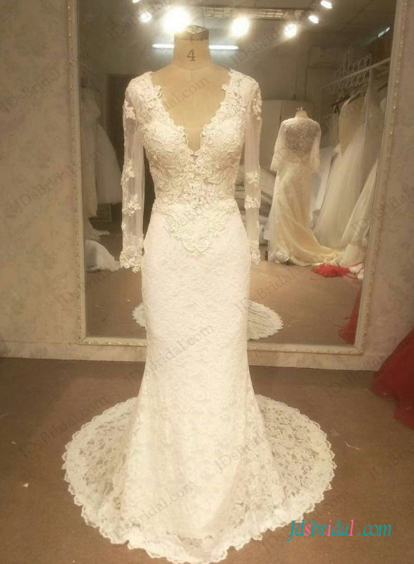 H1262 sexy open back long sleeved lace mermaid wedding dress for Wedding dress with sleeves and open back