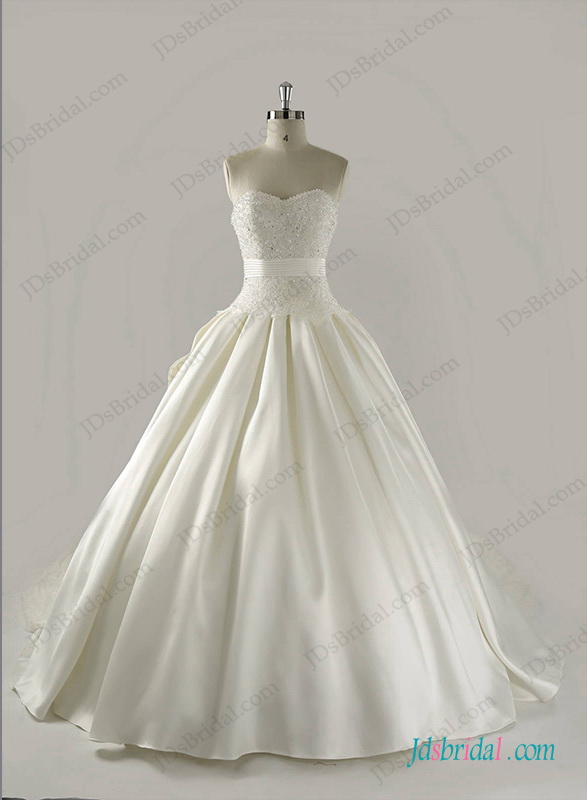 H1263 Strapless satin princess ball gown wedding dress