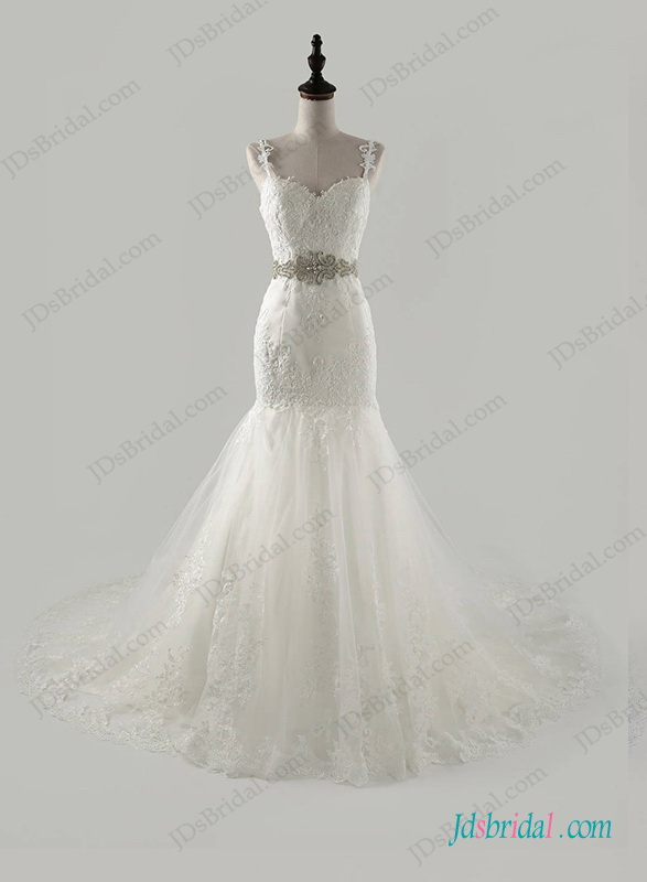 H1264 Thins strap sweetheart neck lace mermaid wedding dress