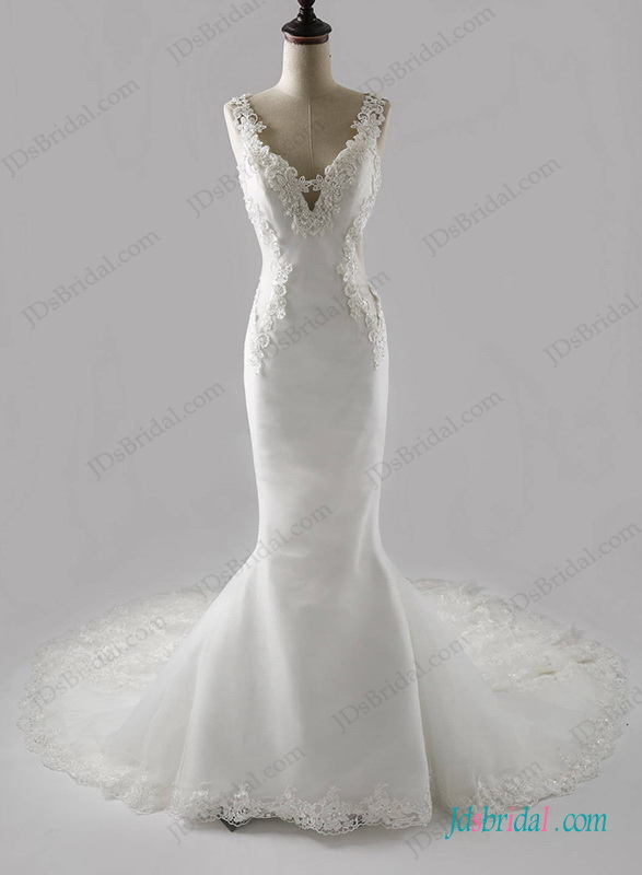 H1266 Sexy deep v back mermaid lace train wedding dress