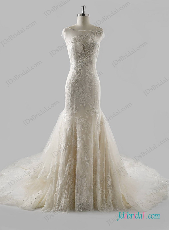 H1268 Sexy sheer back lace mermaid wedding dress