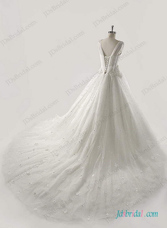 H1269 Sprakly sequins tulle princess ball gown wedding dress