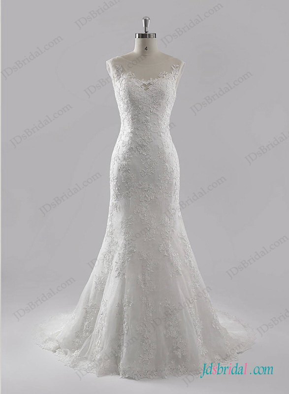 H1270 Romance sheer scoop neck top lace mermaid wedding dress