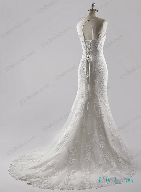 beautiful lace mermaid wedding dress with scoop neck and keyhole back