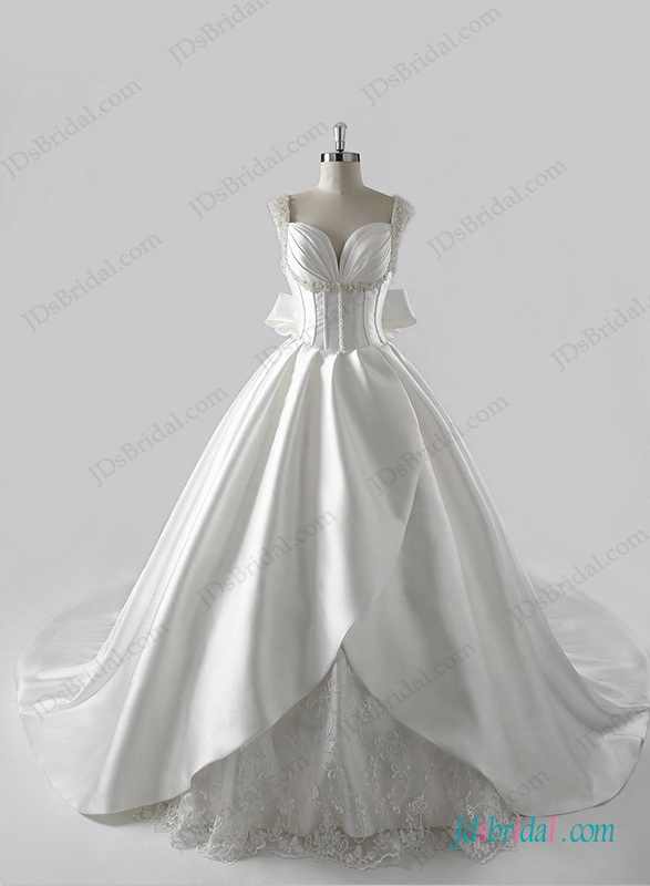 H1271 stunning plunging neck illusion back ball gown wedding dress