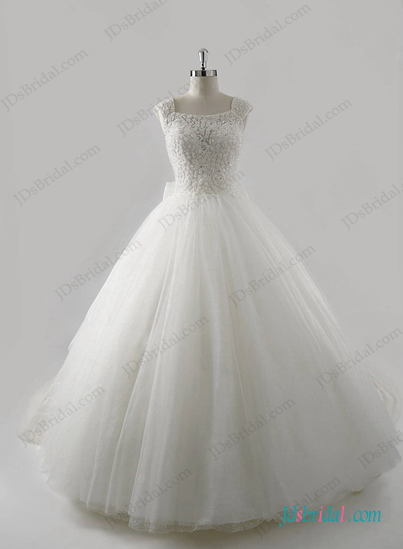 H1272 Luxury Beading bodice cathedral train princess wedding dress