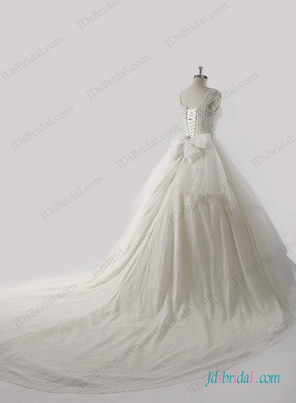 luxury beading bodice cap sleeved princess wedding dress with royal cathedral train