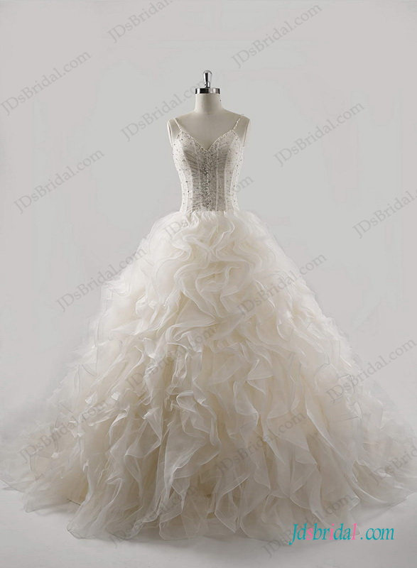 H1274 Champagne colored organza ruffles ball gown wedding dress