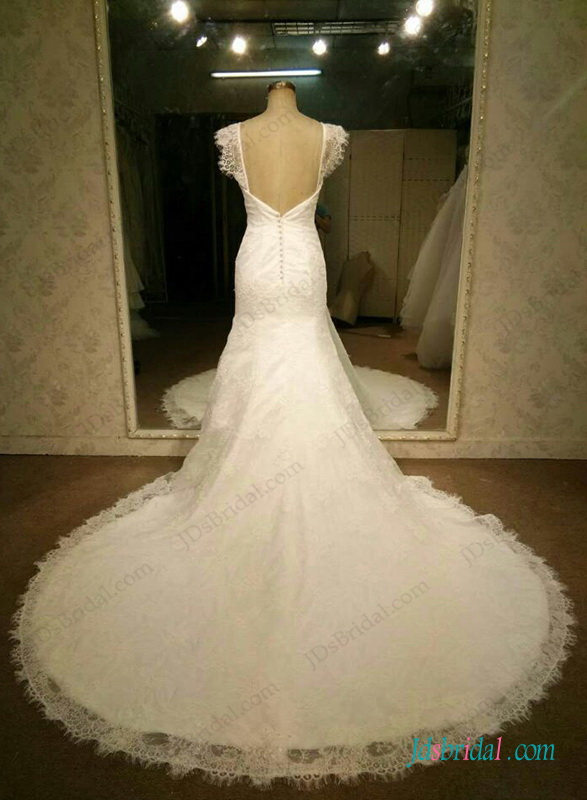 H1276 Lovely cap sleeved lace mermaid wedding dress
