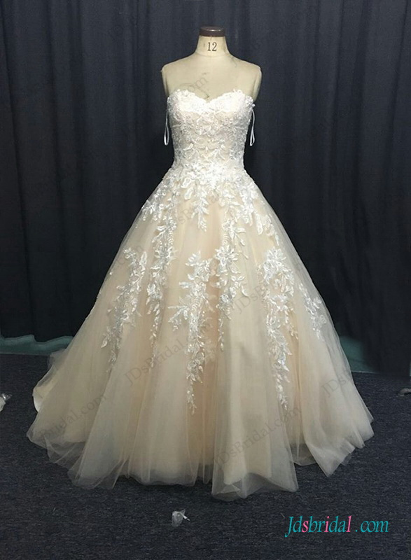 H1281 Sweetheart neck champagne colored ball gown wedding dress