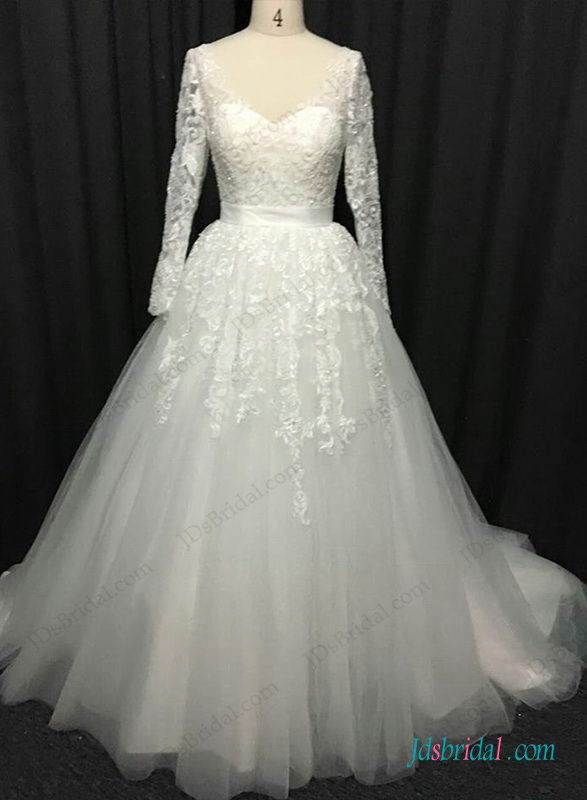 H1282 sexy open back long sleeved lace ball gown wedding for Long sleeve princess wedding dresses