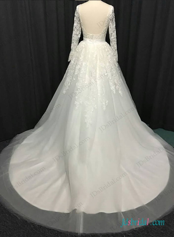 H1282 Sexy open back long sleeved lace ball gown wedding dress