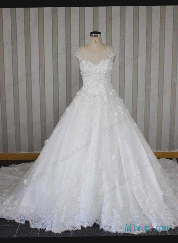 H1284 Sparkly beaded florals sheer top ball gown wedding dress
