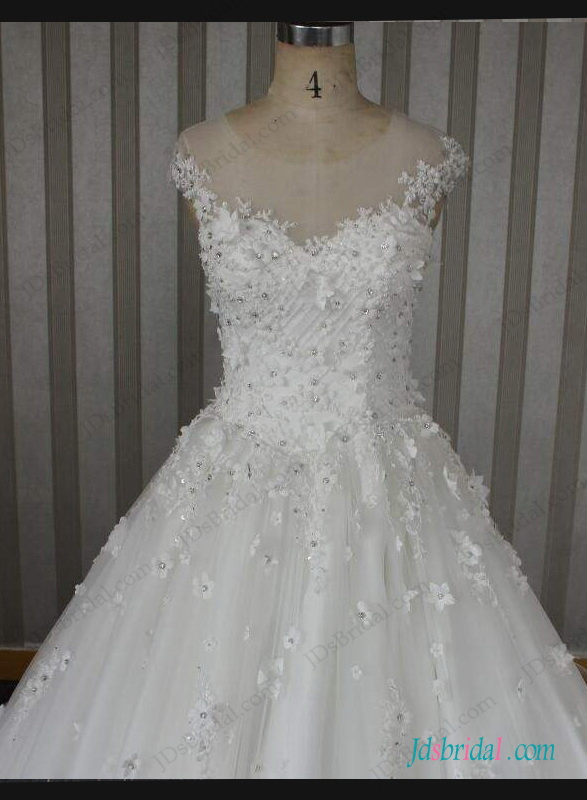 H1284 Sparkly Beaded Florals Sheer Top Ball Gown Wedding