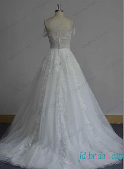 H1285 Cinderella princess ball gown wedding dress with off shoulder sleeves
