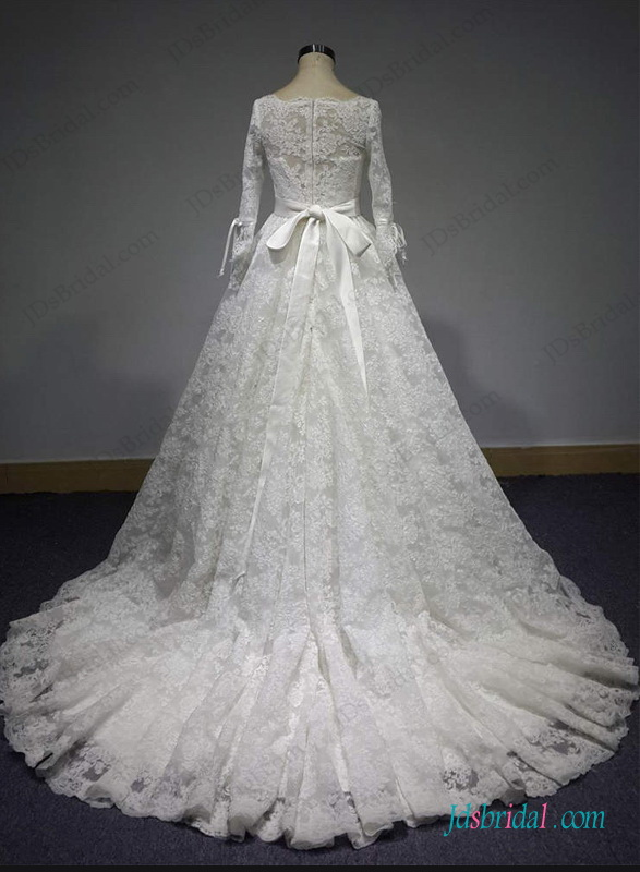 H1286 Vintage Modest 3 4 Sleeves Princess Lace Ball Gown