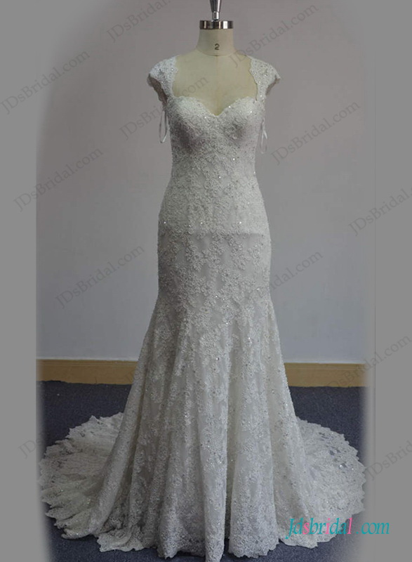 H1287 Gorgeous beaded lace mermaid wedding dress