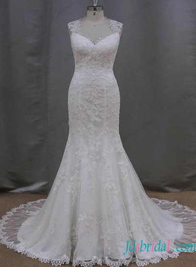 H1292 Romance lace mermaid wedding dress with illusion back