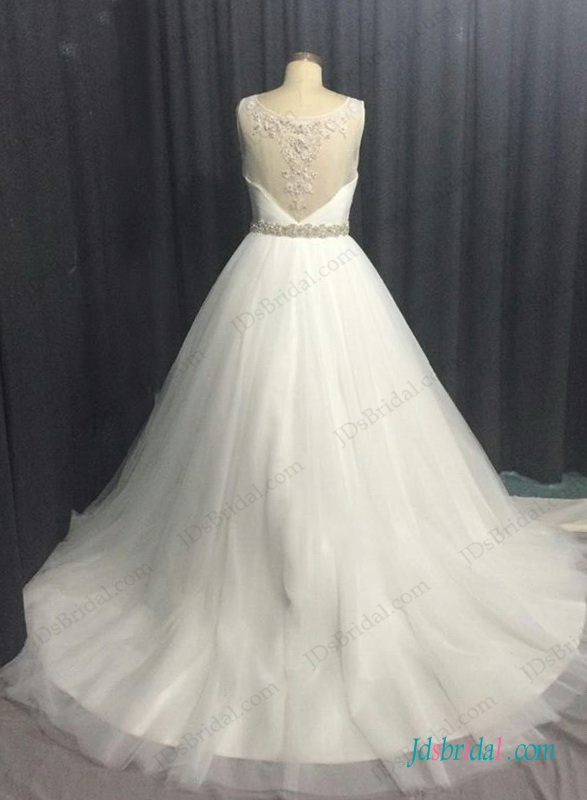 H1295 Plus size tulle ball gown wedding dress with beading details