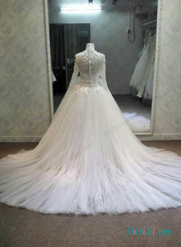H1297 Graceful high neck long sleeved lace tulle ball gown wedding dress