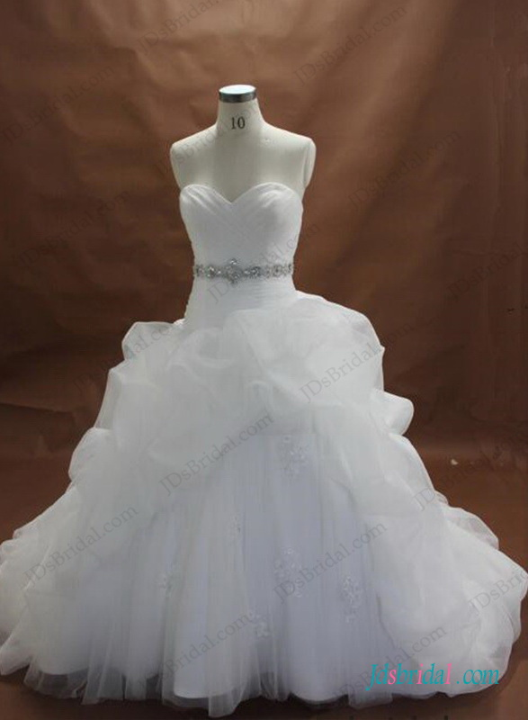 H1298 Plus size white organza and lace ball gown wedding dress