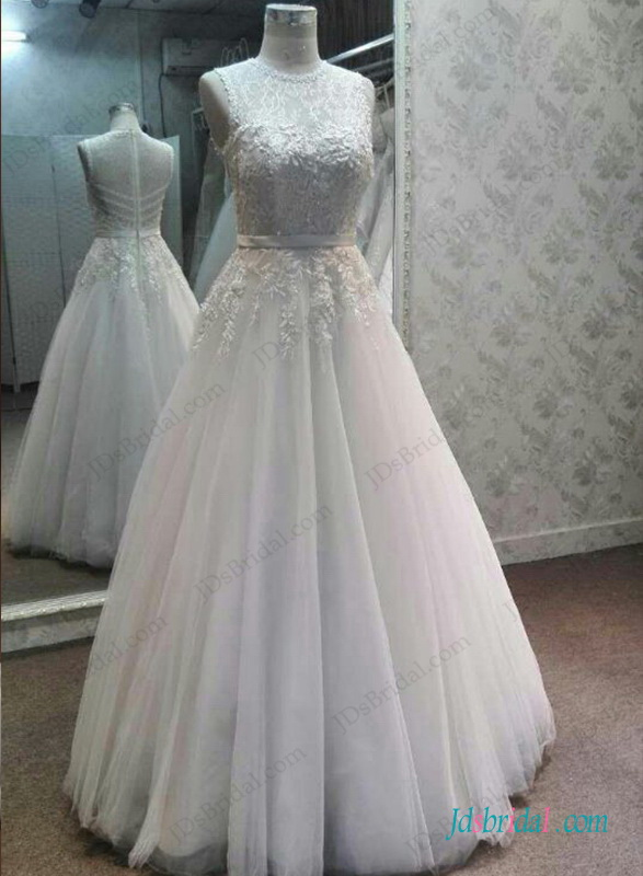 H1299 sexy illusion lace top beaded details tulle wedding for Wedding dress with illusion top