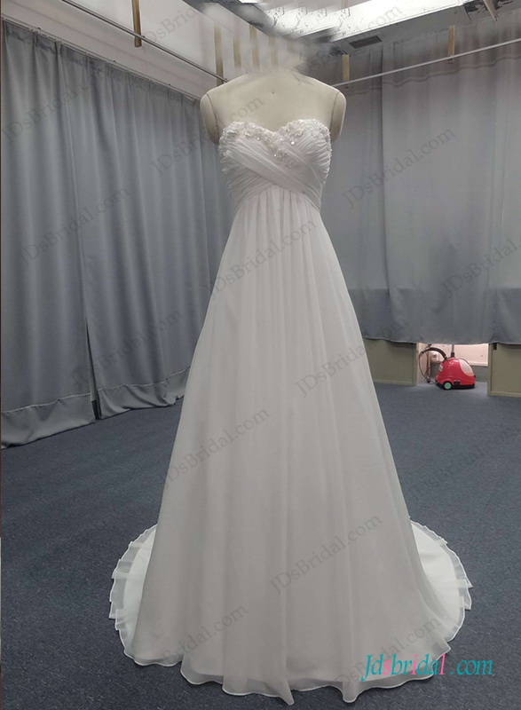 H1300 Flowy chiffon empire waist beach wedding dress