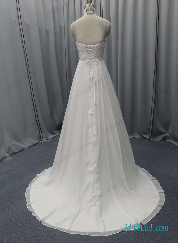 simply chiffon a line beach wedding dress with sweetheart neck and empire waistline